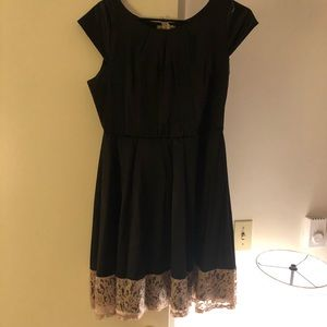Black Satin/Silk Dress with Glitter Lace Border